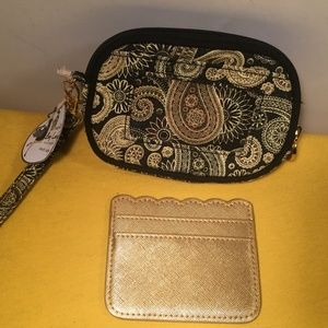 Mudpie Wristlet Bag + gold slot case